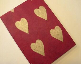 Valentine's Heart Handmade Journal Notebook: Red and Gold Coptic Hardbound Book