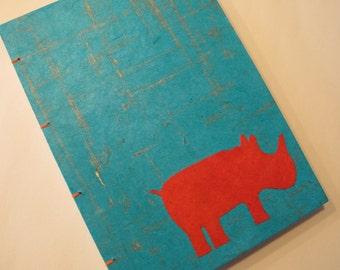 Rhino Handmade Journal Notebook: Turquoise and Orange Rhinoceros Hardbound Book