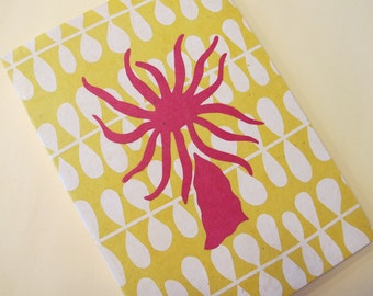 Pink and Yellow Handmade Journal Notebook: Sea Anemone Coptic Book