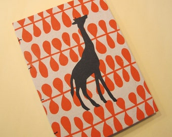 Giraffe Handmade Journal Notebook: Orange and Black Coptic Hardbound Book
