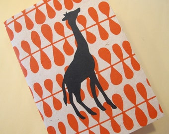 Giraffe Handmade Book: Orange and Black Coptic Notebook Journal