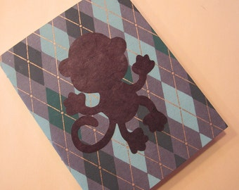 Monkey Small Journal Notebook: Green Argyle Handmade Book