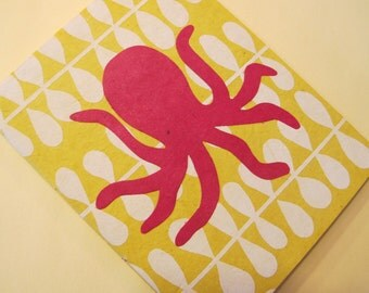 Octopus Journal Notebook: Pink and Yellow Small Handmade Book