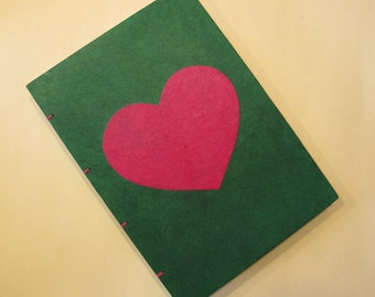 Valentine's Heart Handmade Journal Notebook: Green and Pink Coptic Book Hardbound