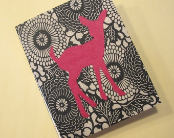 Deer Journal Notebook: Pink, Black, and White Small Handmade Book