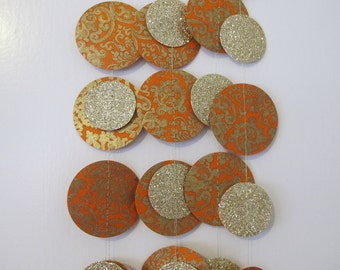 Gold Glitter and Orange Paper Garland: Wedding or Christmas Garland