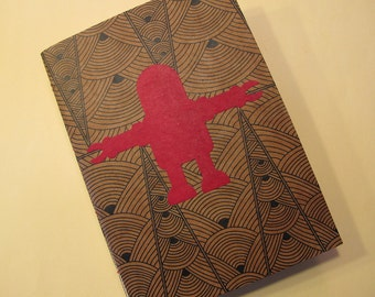 Robot Handmade Journal Notebook: Red Art Deco Coptic Bound Book