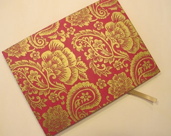 Pink and Gold Wedding Guest Book: Journal Notebook Coptic Book