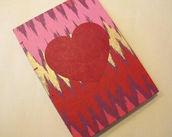 Valentine's Heart Handmade Journal Notebook: Red, Pink, and Gold Coptic Book Hardbound