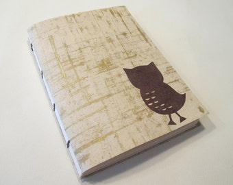 Owl Journal Notebook: Gold Coptic Bound Handmade Book