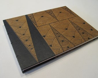 Art Deco Guest Book: Black and Tan Wedding Guest Book Journal Notebook