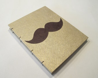 Mustache Small Journal Notebook:  Gold and Brown Moustache Hardbound Coptic Handmade Book