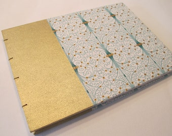 Small Art Deco Metallic Gold and Mint Green Romantic Wedding Guest Book Instax Polaroid Photo Album