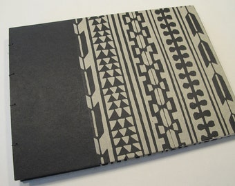 Black and Grey Modern Geometric Guest Book Coptic Bound: Batik Black and Grey Wedding Guestbook