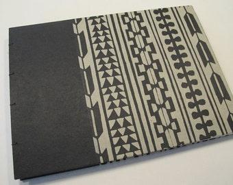 Batik Arrow Print Wedding Guest Book: Black and Grey Journal Notebook Coptic Book