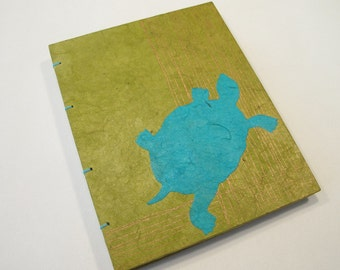 Turtle Handmade Notebook Journal: Turquoise and Green Hardbound Coptic Small Book