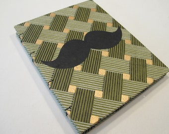 Mustache Handmade Notebook Journal: Black and Green Moustache Hardbound Coptic Small Book