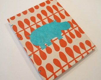 Hippo Handmade Journal Notebook:  Orange and Turquoise Hippopotamus Small Book Coptic Hardbound