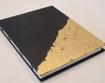Gold Leaf Small Journal Notebook: Black and Gold Metallic Coptic Handmade Book