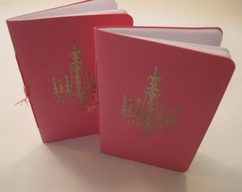 Chandelier Pocket Notebooks: Set of Two Pink and Silver Embossed Small Journals Cahier