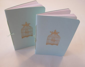 Bird Cage Pocket Notebooks: Set of Two Mint Green and Gold Embossed Small Notebooks Cahier