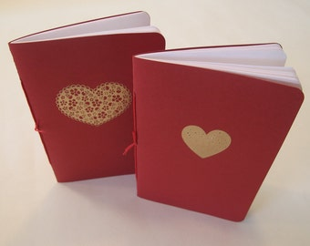 Valentine's Day of the Dead Heart Pocket Notebooks: Two Red and Gold Embossed Small Notebooks Cahier
