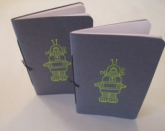 Robot Pocket Notebooks: Set of Two Grey and Green Embossed Small Journals Cahier