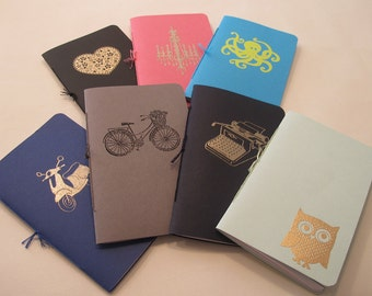 Set of Three Assorted Pocket Notebooks: Mix and Match Embossed Small Notebooks Cahier
