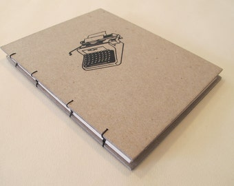 Typewriter Handmade Journal Notebook: Hardbound Coptic Small Book
