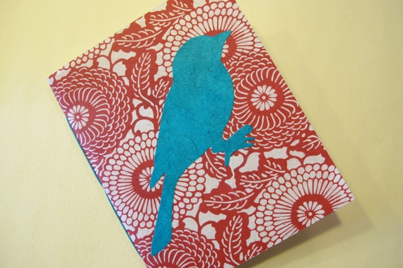 Bird Handmade Notebook Journal: Red and Turquoise Small Pamphlet Book