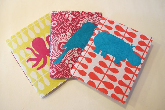 Set of 3 Small Handmade Notebook Journals: Bird, Hippo, and Octopus Pamphlet Books