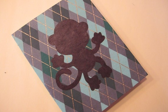 Monkey Small Journal Notebook: Green Argyle Handmade Book