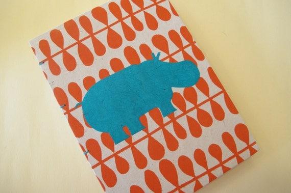 Hippo Handmade Book: Orange and Turquoise Hippopotamus Journal Notebook Coptic Hardbound