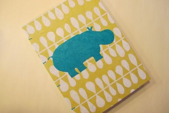 Hippo Handmade Journal Notebook: Yellow and Turquoise Hippopotamus Coptic Book Hardbound