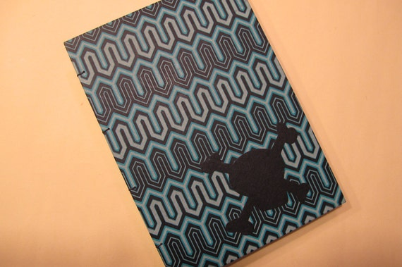Skull and Crossbones Handmade Journal Notebook: Blue Coptic Hardbound Book