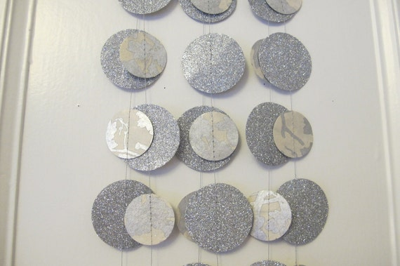 Reserved for Orna 4 Silver and White Glitter Paper Garland: Wedding or Christmas Garland