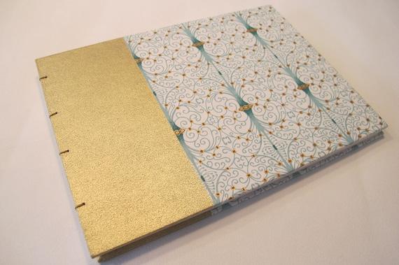 Art Deco Wedding Guest Book: Gold and Mint Green Journal Notebook Coptic Book