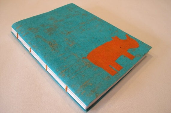 Rhino Handmade Journal Notebook: Turquoise and Orange Rhinoceros Coptic Bound Book