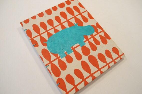 Hippo Handmade Journal Notebook:  Orange and Turquoise Hippopotamus Small Book Coptic Hardbound