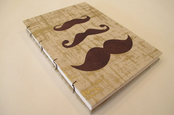 Mustache Handmade Journal Notebook: Gold and Brown Coptic Hardbound Book