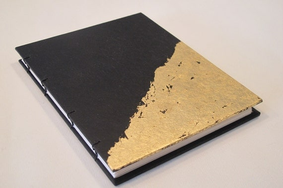 Gold Leaf Small Journal Notebook Black And Gold Metallic
