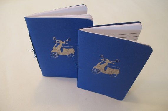 Moped Scooter Pocket Notebooks: Set of Two Blue and Silver Vespa Embossed Small Cahier