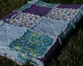 Purple, Blue Hearts, Flowers, Plaid Flannel Rag Quilt