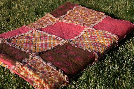 Orange, Pink, Brown Warm Autumn Flannel Rag Quilt