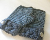 knitting PATTERN fingerless mitts with buttons and cabled cuff- PDF
