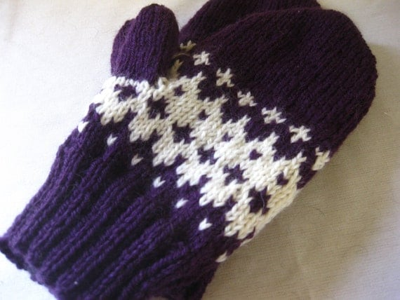 Purple mittens knit with white fair isle- ready to ship