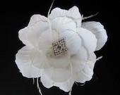 Beezus - Bridal Collection Gardenia White Flower Hair Clip Fascinator W/ Ostrich Feathers