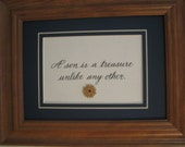 """Framed quote for Mother/Son 7x9 - """"A son is a treasure unlike any other"""""""