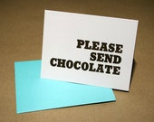 Please Send Chocolate Letterpress Card
