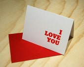 I Love You Letterpress Card - Valentine or Anniversary Card